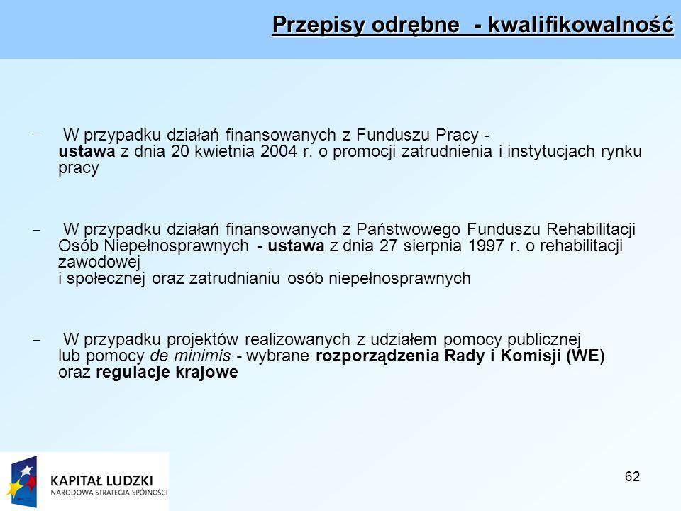 62 Przepisy odrębne - kwalifikowalność - W przypadku działań finansowanych z Funduszu Pracy - ustawa z dnia 20 kwietnia 2004 r.