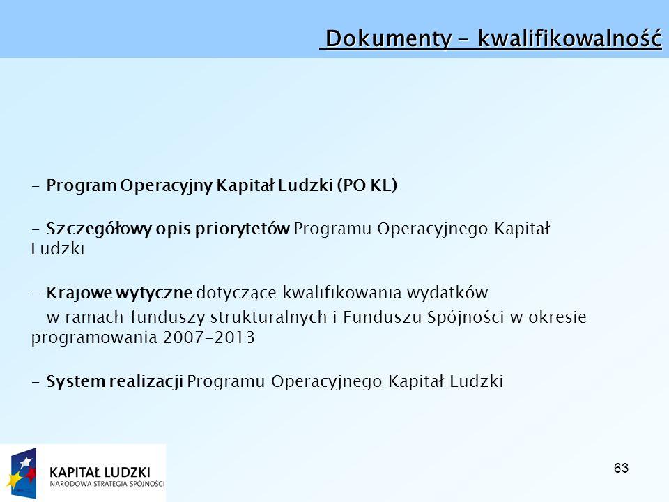 63 Dokumenty - kwalifikowalność - Program Operacyjny Kapitał Ludzki (PO KL) - Szczegółowy opis priorytetów Programu Operacyjnego Kapitał Ludzki - Krajowe wytyczne dotyczące kwalifikowania wydatków w ramach funduszy strukturalnych i Funduszu Spójności w okresie programowania 2007-2013 - System realizacji Programu Operacyjnego Kapitał Ludzki
