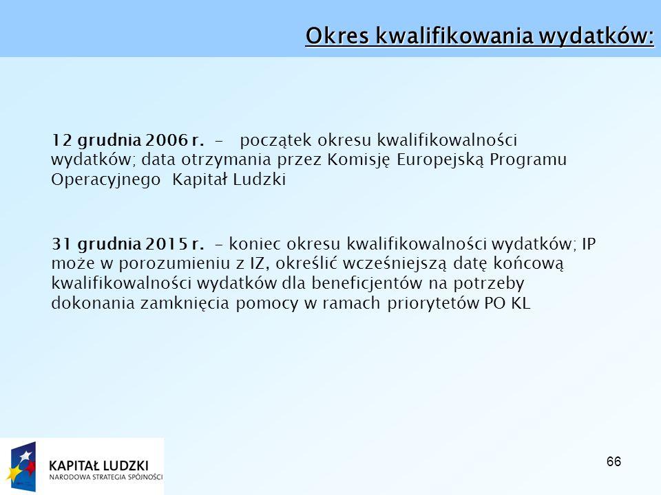 66 Okres kwalifikowania wydatków: 12 grudnia 2006 r.