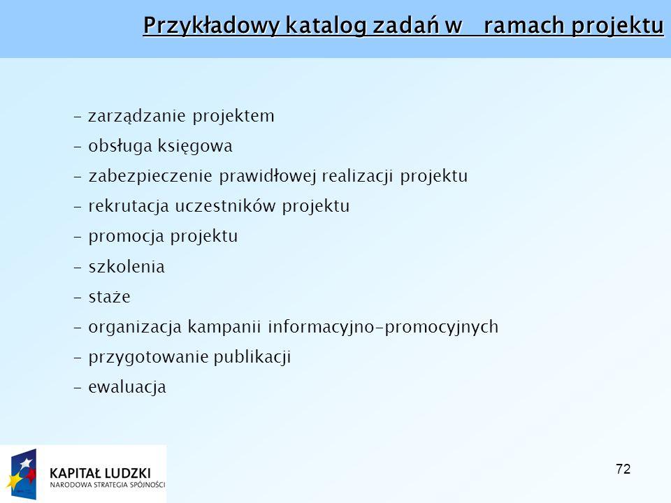 72 Przykładowy katalog zadań w ramach projektu - zarządzanie projektem - obsługa księgowa - zabezpieczenie prawidłowej realizacji projektu - rekrutacja uczestników projektu - promocja projektu - szkolenia - staże - organizacja kampanii informacyjno-promocyjnych - przygotowanie publikacji - ewaluacja