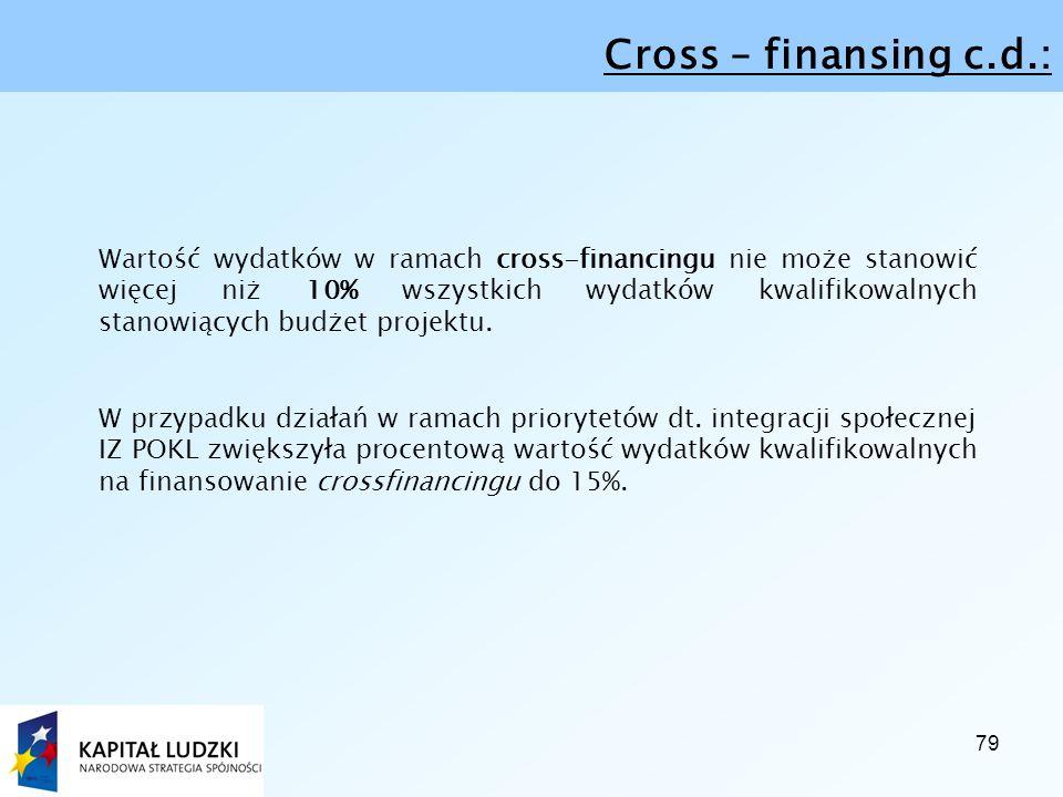 79 Cross – finansing c.d.: Wartość wydatków w ramach cross-financingu nie może stanowić więcej niż 10% wszystkich wydatków kwalifikowalnych stanowiących budżet projektu.