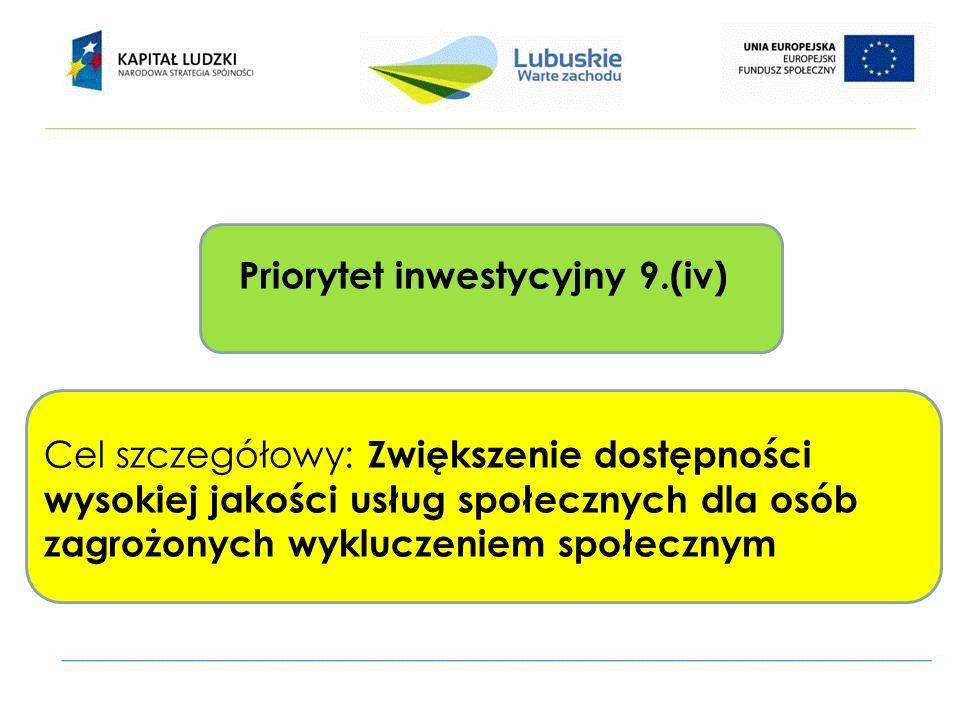 Priorytet inwestycyjny 9.(iv) Cel szczegółowy: Zwiększenie dostępności wysokiej jakości usług społecznych dla osób zagrożonych wykluczeniem społecznym
