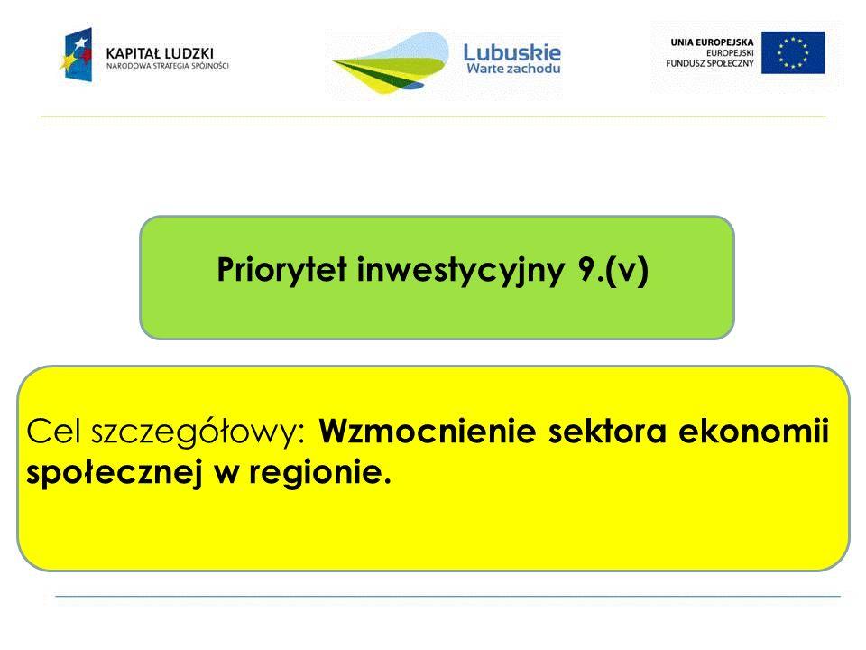 Priorytet inwestycyjny 9.(v) Cel szczegółowy: Wzmocnienie sektora ekonomii społecznej w regionie.