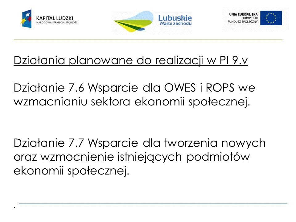 Działania planowane do realizacji w PI 9.v Działanie 7.6 Wsparcie dla OWES i ROPS we wzmacnianiu sektora ekonomii społecznej.