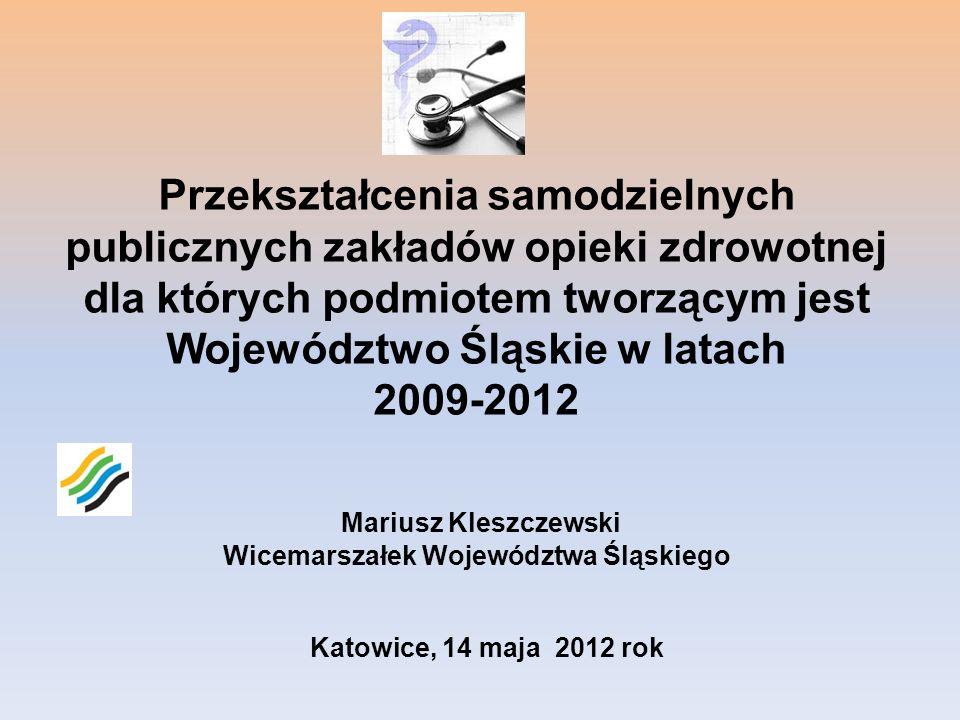 Przekształcenia samodzielnych publicznych zakładów opieki zdrowotnej dla których podmiotem tworzącym jest Województwo Śląskie w latach 2009-2012 Mariu