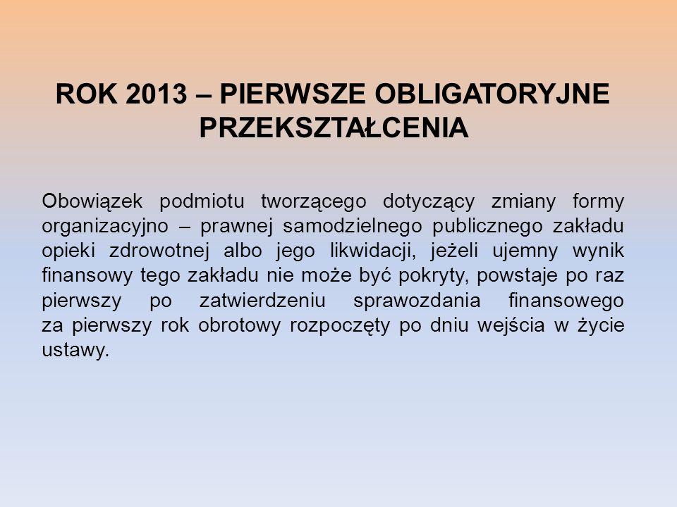 ROK 2013 – PIERWSZE OBLIGATORYJNE PRZEKSZTAŁCENIA Obowiązek podmiotu tworzącego dotyczący zmiany formy organizacyjno – prawnej samodzielnego publiczne