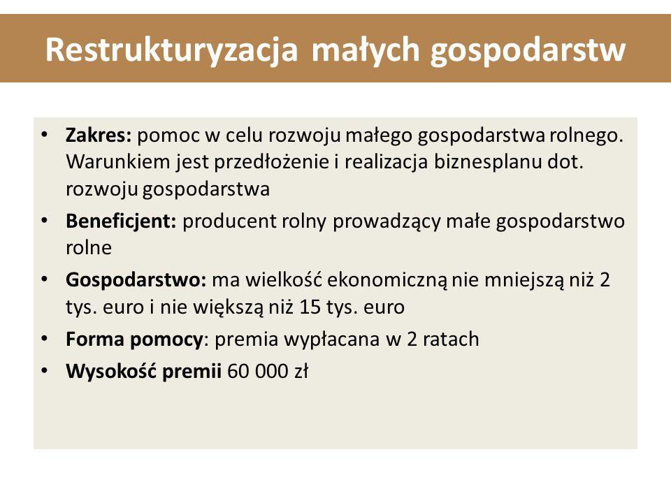 Restrukturyzacja małych gospodarstw Zakres: pomoc w celu rozwoju małego gospodarstwa rolnego.