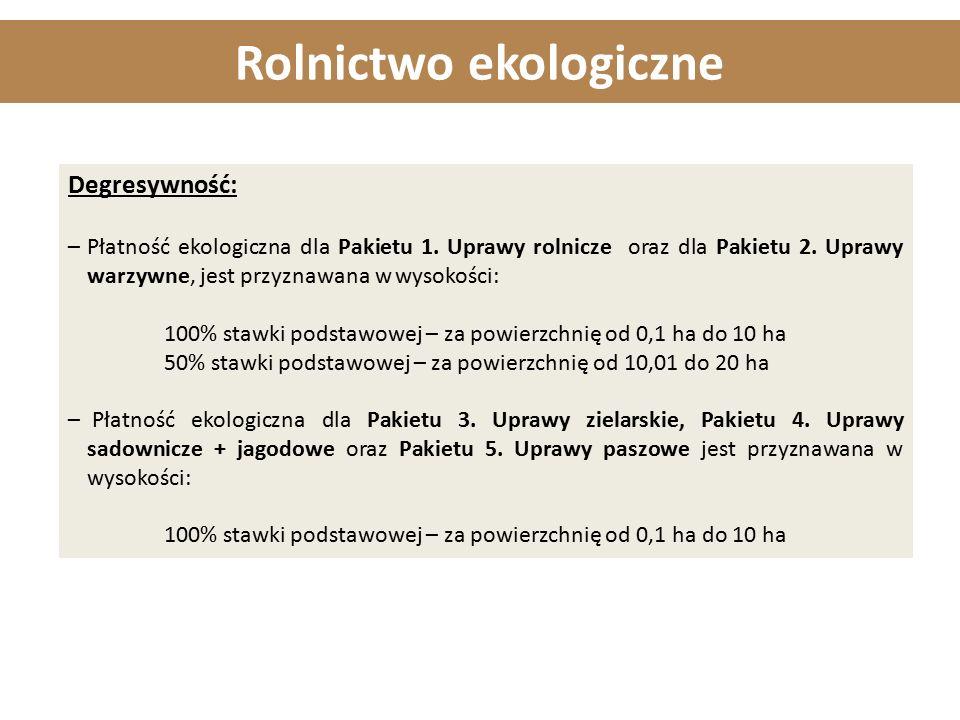 Rolnictwo ekologiczne Degresywność: –Płatność ekologiczna dla Pakietu 1. Uprawy rolnicze oraz dla Pakietu 2. Uprawy warzywne, jest przyznawana w wysok