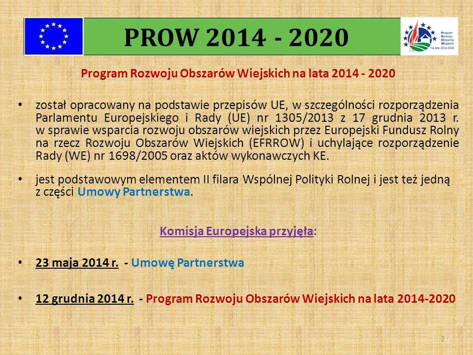 Program Rozwoju Obszarów Wiejskich na lata 2014 - 2020 został opracowany na podstawie przepisów UE, w szczególności rozporządzenia Parlamentu Europejs