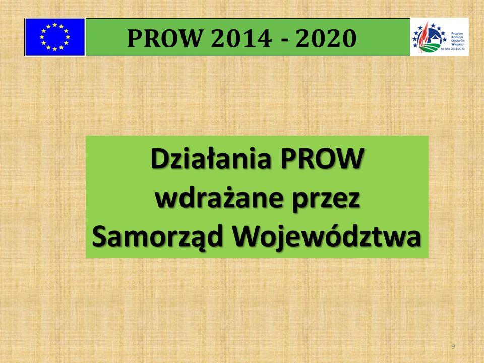PROW 2014 - 2020 9 Działania PROW wdrażane przez Samorząd Województwa