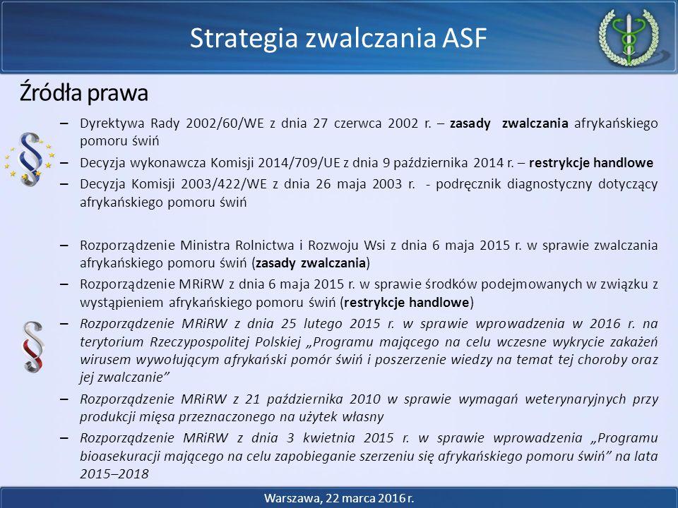 Źródła prawa – Dyrektywa Rady 2002/60/WE z dnia 27 czerwca 2002 r. – zasady zwalczania afrykańskiego pomoru świń – Decyzja wykonawcza Komisji 2014/709