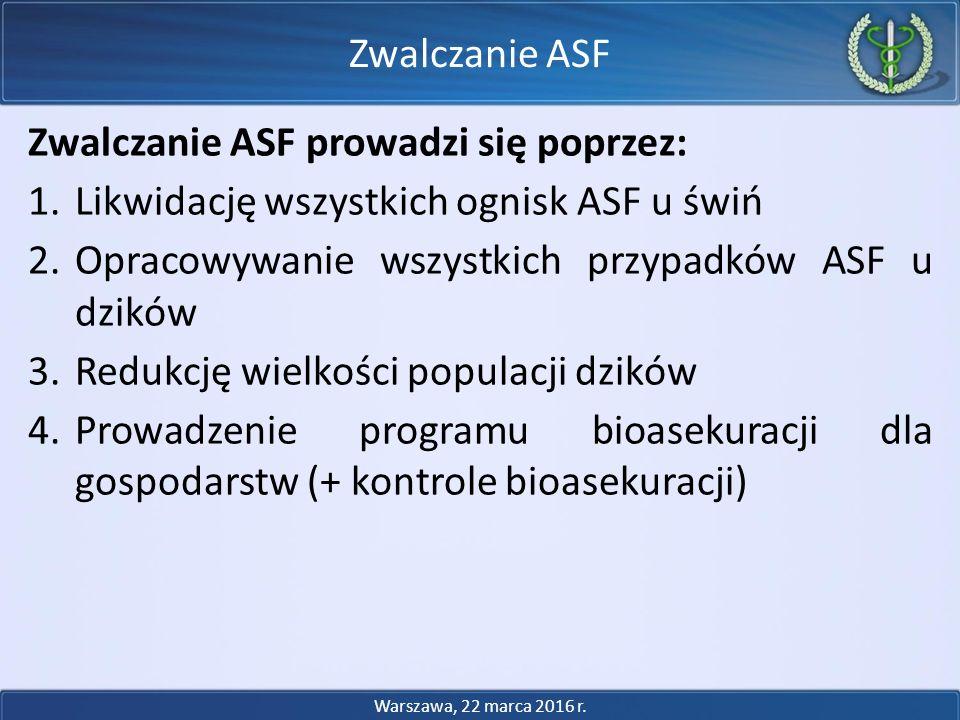 Zwalczanie ASF prowadzi się poprzez: 1.Likwidację wszystkich ognisk ASF u świń 2.Opracowywanie wszystkich przypadków ASF u dzików 3.Redukcję wielkości populacji dzików 4.Prowadzenie programu bioasekuracji dla gospodarstw (+ kontrole bioasekuracji) Zwalczanie ASF Warszawa, 22 marca 2016 r.
