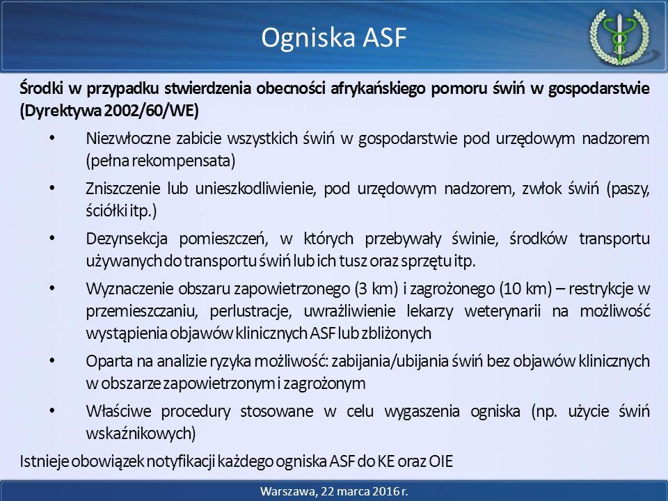 Środki w przypadku stwierdzenia obecności afrykańskiego pomoru świń w gospodarstwie (Dyrektywa 2002/60/WE) Niezwłoczne zabicie wszystkich świń w gospo