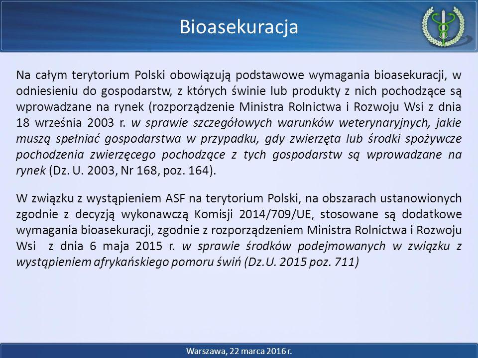 Na całym terytorium Polski obowiązują podstawowe wymagania bioasekuracji, w odniesieniu do gospodarstw, z których świnie lub produkty z nich pochodząc