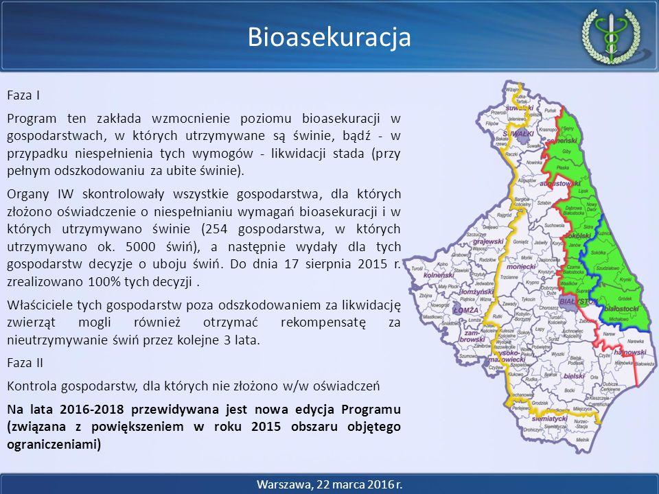 Faza I Program ten zakłada wzmocnienie poziomu bioasekuracji w gospodarstwach, w których utrzymywane są świnie, bądź - w przypadku niespełnienia tych wymogów - likwidacji stada (przy pełnym odszkodowaniu za ubite świnie).