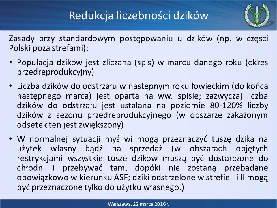 Zasady przy standardowym postępowaniu u dzików (np. w części Polski poza strefami): Populacja dzików jest zliczana (spis) w marcu danego roku (okres p