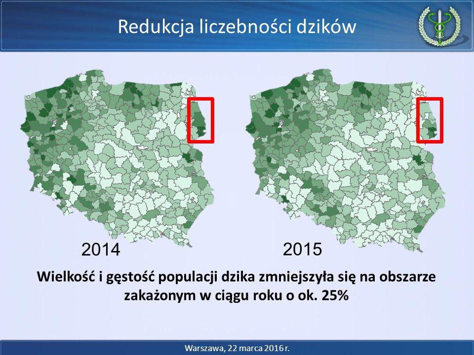 2014 2015 Wielkość i gęstość populacji dzika zmniejszyła się na obszarze zakażonym w ciągu roku o ok. 25% Warszawa, 22 marca 2016 r. Redukcja liczebno