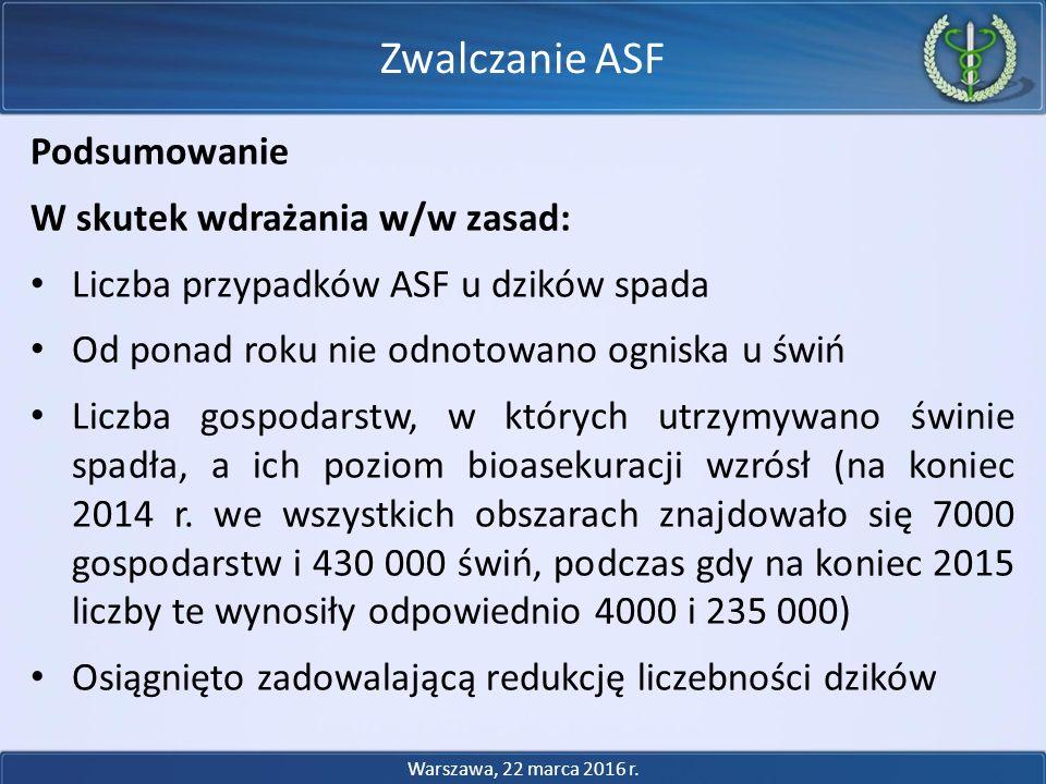 Podsumowanie W skutek wdrażania w/w zasad: Liczba przypadków ASF u dzików spada Od ponad roku nie odnotowano ogniska u świń Liczba gospodarstw, w któr
