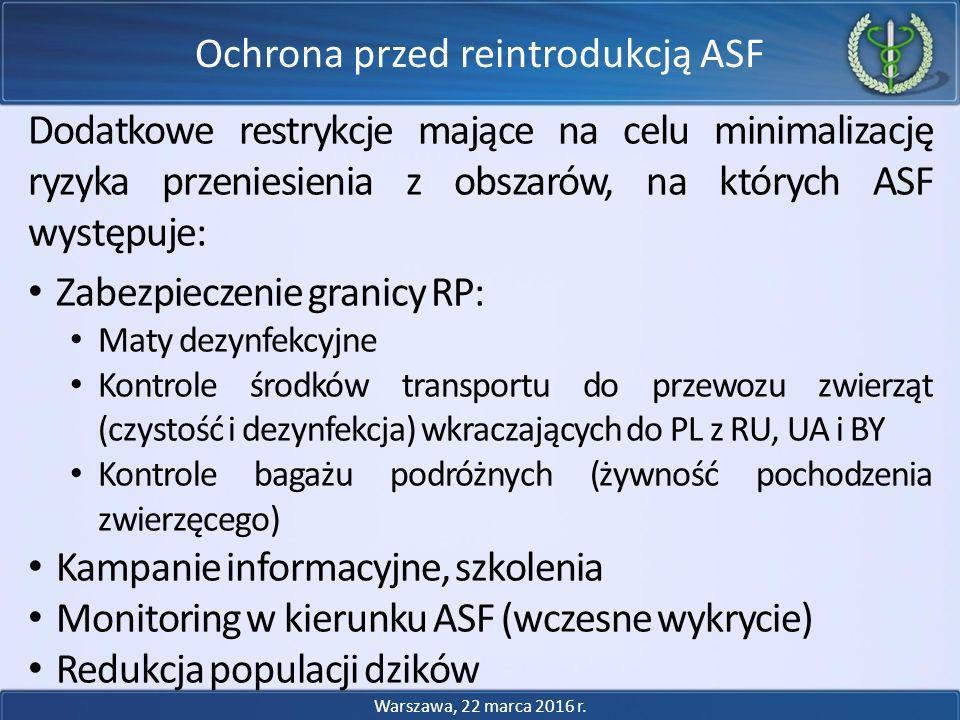 Dodatkowe restrykcje mające na celu minimalizację ryzyka przeniesienia z obszarów, na których ASF występuje: Zabezpieczenie granicy RP: Maty dezynfekc