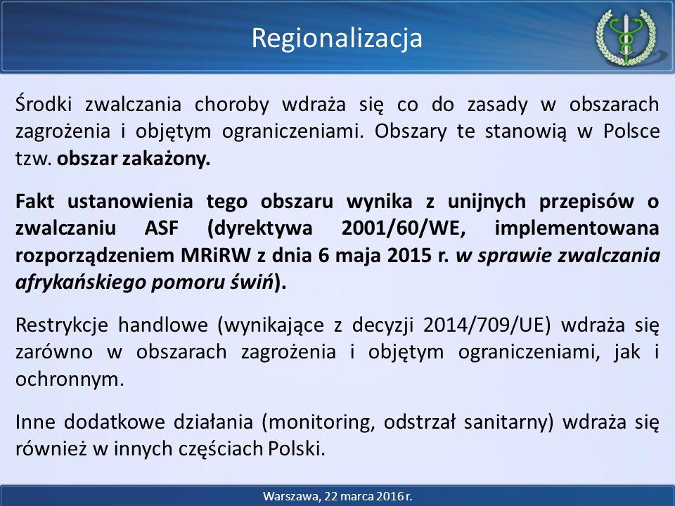 Środki zwalczania choroby wdraża się co do zasady w obszarach zagrożenia i objętym ograniczeniami. Obszary te stanowią w Polsce tzw. obszar zakażony.