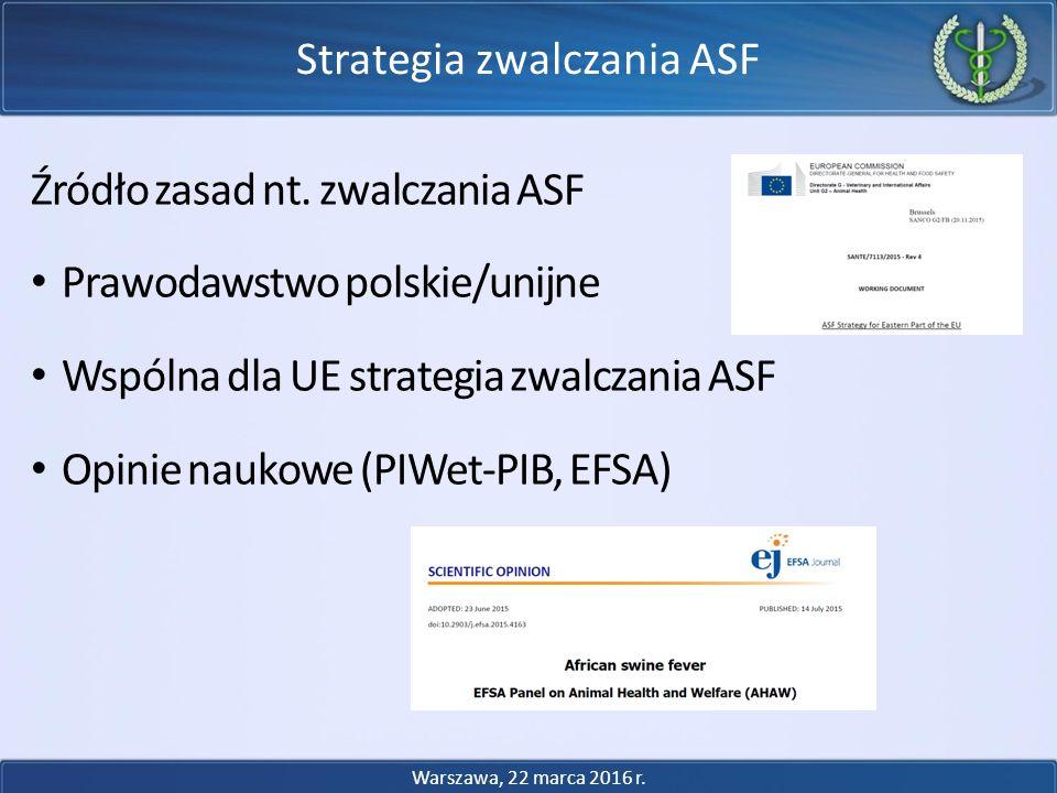 Źródło zasad nt. zwalczania ASF Prawodawstwo polskie/unijne Wspólna dla UE strategia zwalczania ASF Opinie naukowe (PIWet-PIB, EFSA) Strategia zwalcza