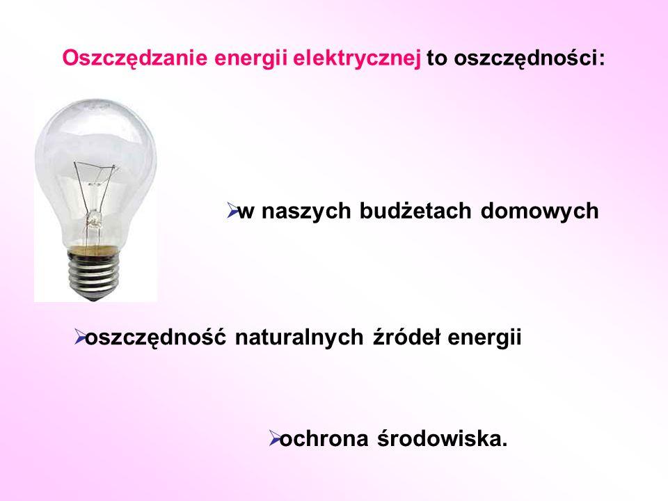 Oszczędzanie energii elektrycznej to oszczędności:  ochrona środowiska.