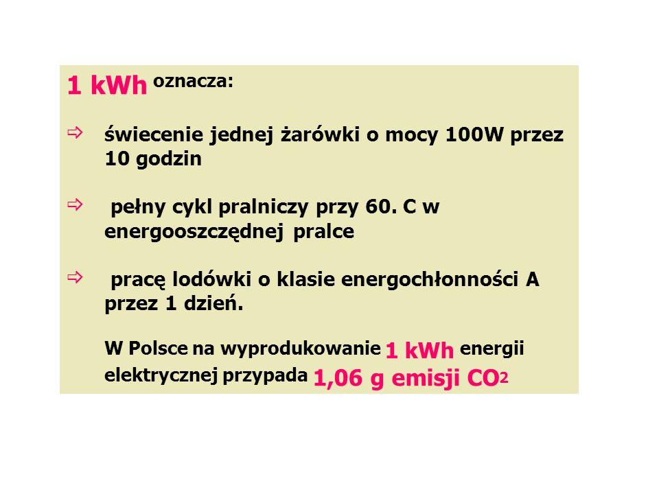 1 kWh oznacza: świecenie jednej żarówki o mocy 100W przez 10 godzin  pełny cykl pralniczy przy 60.