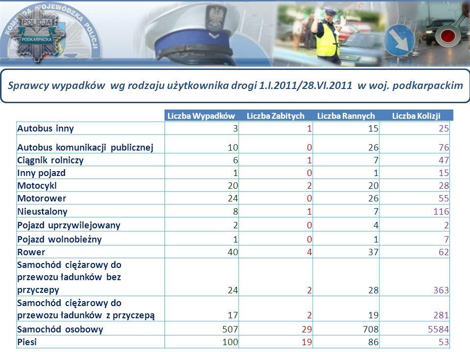 Sprawcy wypadków wg rodzaju użytkownika drogi 1.I.2011/28.VI.2011 w woj. podkarpackim Autobus inny311525 Autobus komunikacji publicznej1002676 Ciągnik