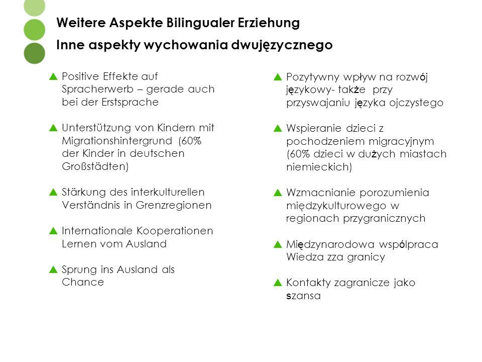  Positive Effekte auf Spracherwerb – gerade auch bei der Erstsprache  Unterstützung von Kindern mit Migrationshintergrund (60% der Kinder in deutsch