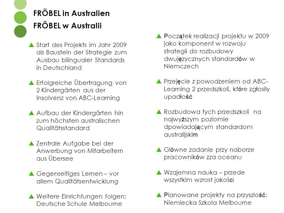  Start des Projekts im Jahr 2009 als Baustein der Strategie zum Ausbau bilingualer Standards in Deutschland  Erfolgreiche Übertragung von 2 Kindergä