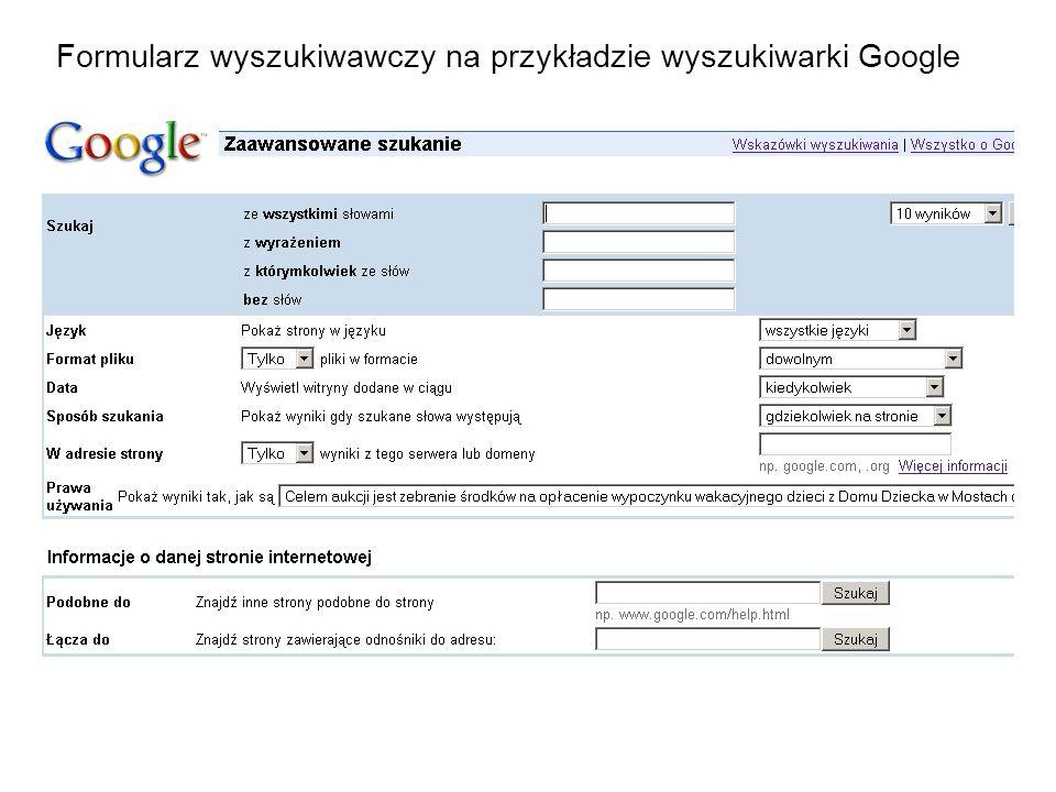 Formularz wyszukiwawczy na przykładzie wyszukiwarki Google