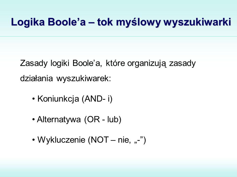 """Logika Boole'a – tok myślowy wyszukiwarki Zasady logiki Boole'a, które organizują zasady działania wyszukiwarek: Koniunkcja (AND- i) Alternatywa (OR - lub) Wykluczenie (NOT – nie, """"- )"""