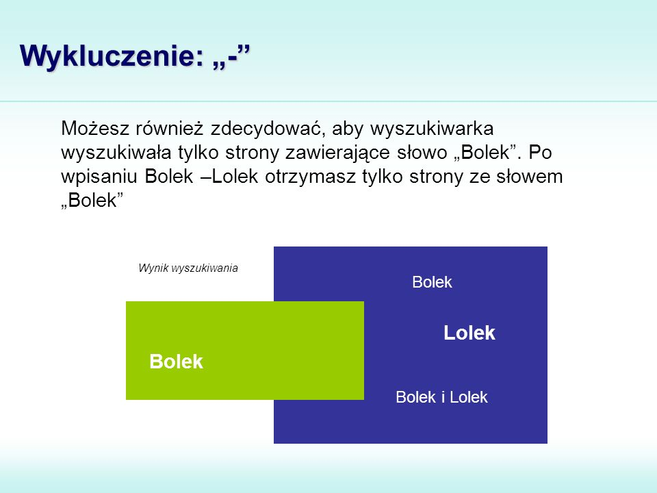"""Możesz również zdecydować, aby wyszukiwarka wyszukiwała tylko strony zawierające słowo """"Bolek"""". Po wpisaniu Bolek –Lolek otrzymasz tylko strony ze sło"""