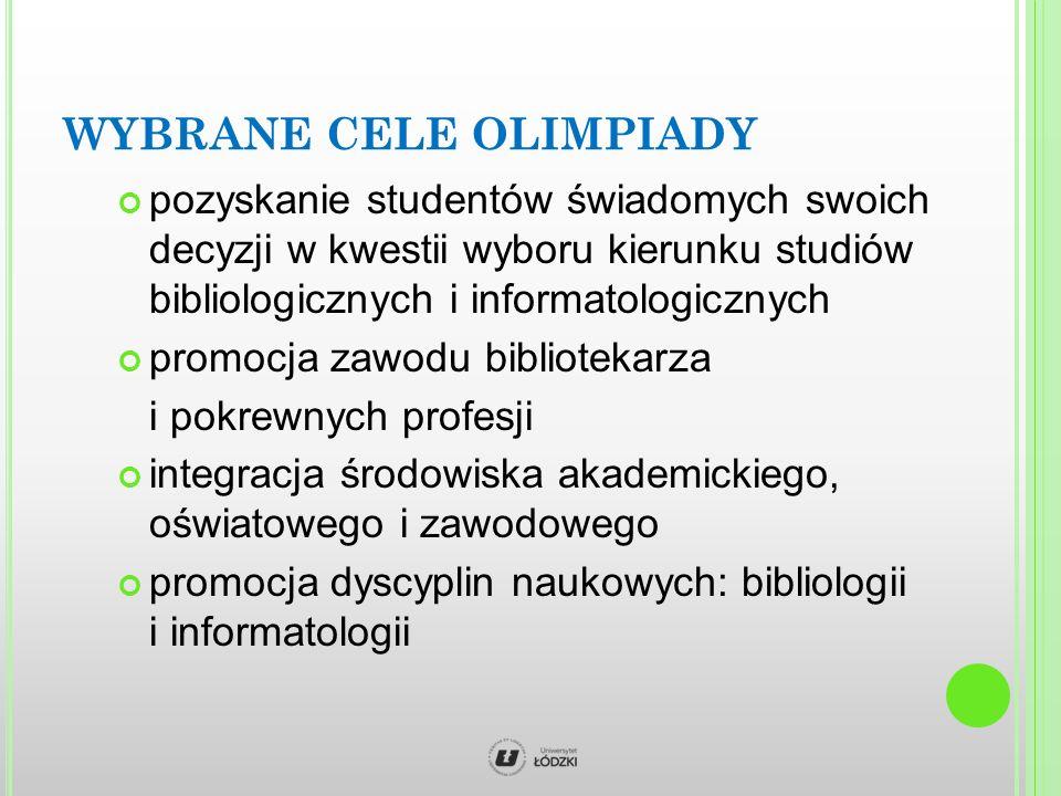 WYBRANE CELE OLIMPIADY pozyskanie studentów świadomych swoich decyzji w kwestii wyboru kierunku studiów bibliologicznych i informatologicznych promocja zawodu bibliotekarza i pokrewnych profesji integracja środowiska akademickiego, oświatowego i zawodowego promocja dyscyplin naukowych: bibliologii i informatologii