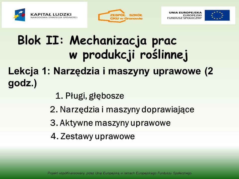 Blok II: Mechanizacja prac w produkcji roślinnej Lekcja 1: Narzędzia i maszyny uprawowe (2 godz.) 1. Pługi, głębosze 2. Narzędzia i maszyny doprawiają