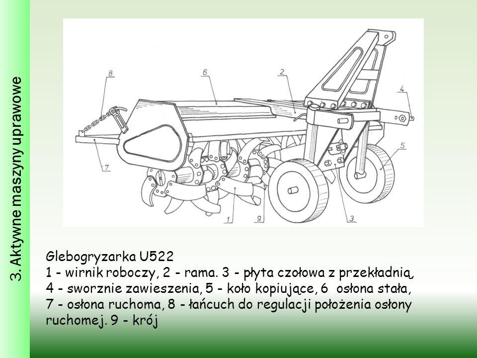 Glebogryzarka U522 1 - wirnik roboczy, 2 - rama. 3 - płyta czołowa z przekładnią, 4 - sworznie zawieszenia, 5 - koło kopiujące, 6 osłona stała, 7 - os