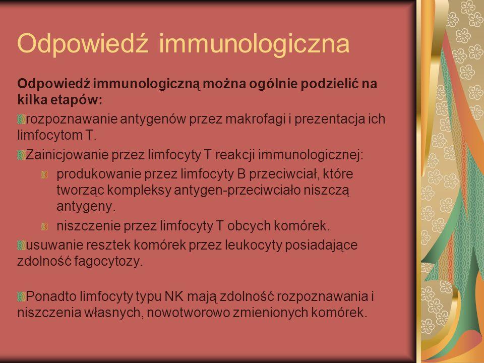 Odpowiedź immunologiczna Odpowiedź immunologiczną można ogólnie podzielić na kilka etapów: rozpoznawanie antygenów przez makrofagi i prezentacja ich l