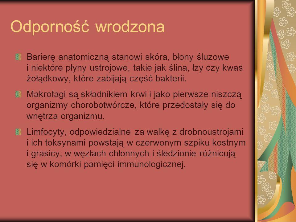 Odporność wrodzona Barierę anatomiczną stanowi skóra, błony śluzowe i niektóre płyny ustrojowe, takie jak ślina, łzy czy kwas żołądkowy, które zabijaj