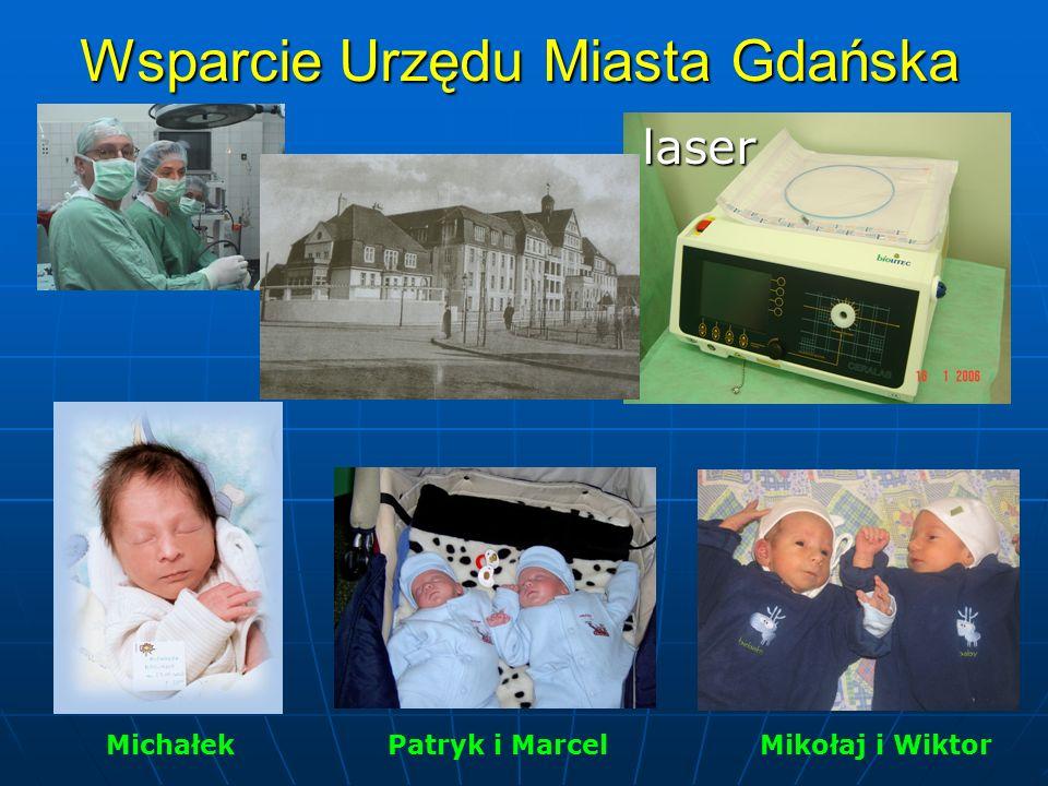 Wsparcie Urzędu Miasta Gdańska Michałek Patryk i Marcel Mikołaj i Wiktor laser