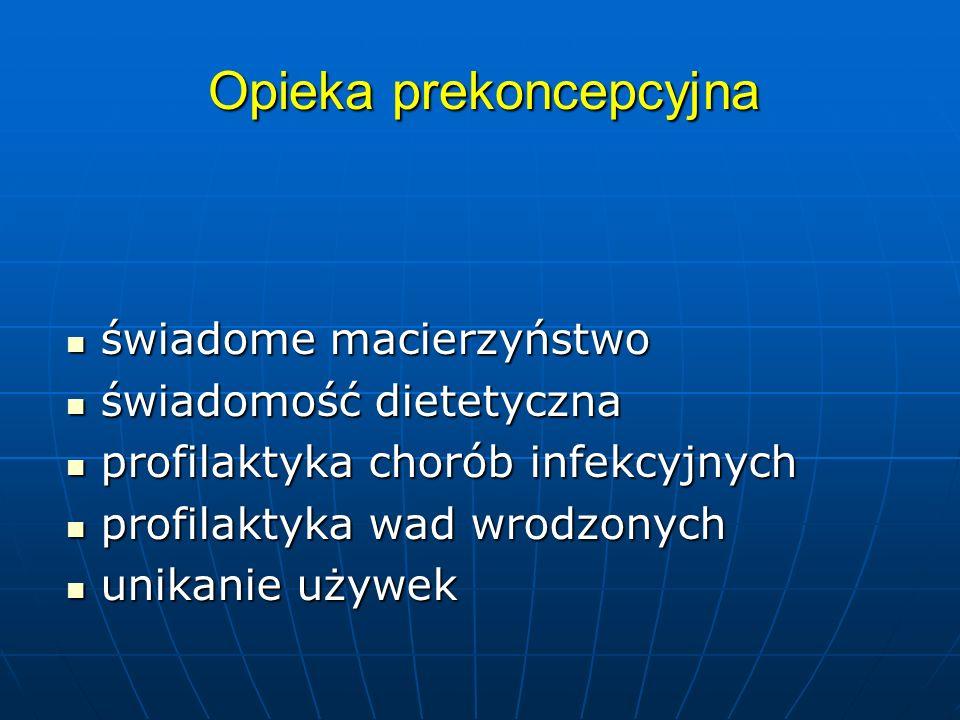 Opieka prekoncepcyjna świadome macierzyństwo świadome macierzyństwo świadomość dietetyczna świadomość dietetyczna profilaktyka chorób infekcyjnych profilaktyka chorób infekcyjnych profilaktyka wad wrodzonych profilaktyka wad wrodzonych unikanie używek unikanie używek