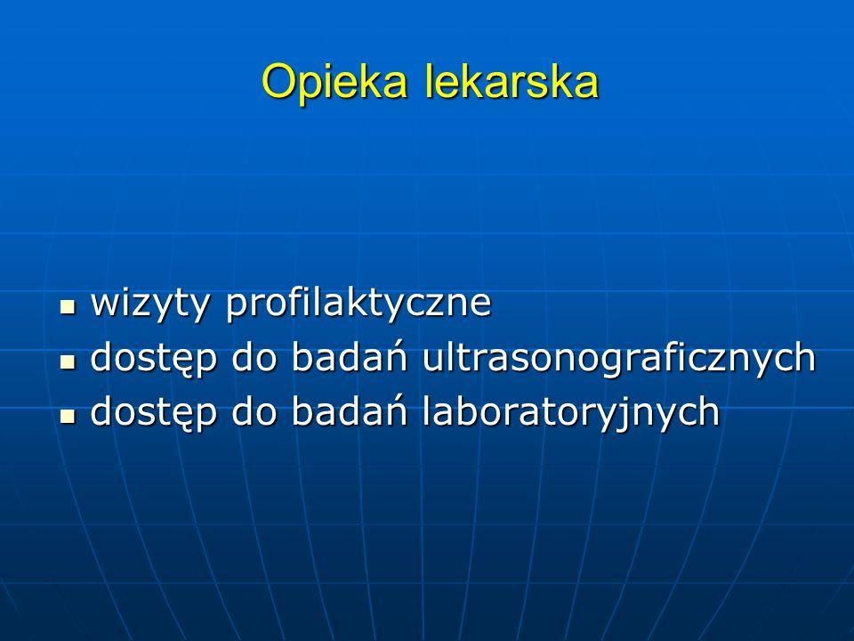 Opieka lekarska wizyty profilaktyczne wizyty profilaktyczne dostęp do badań ultrasonograficznych dostęp do badań ultrasonograficznych dostęp do badań laboratoryjnych dostęp do badań laboratoryjnych