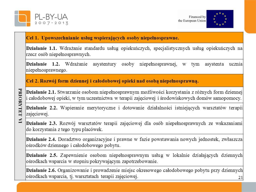 21 PRIORYTET VI Cel 1. Upowszechnianie usług wspierających osoby niepełnosprawne.