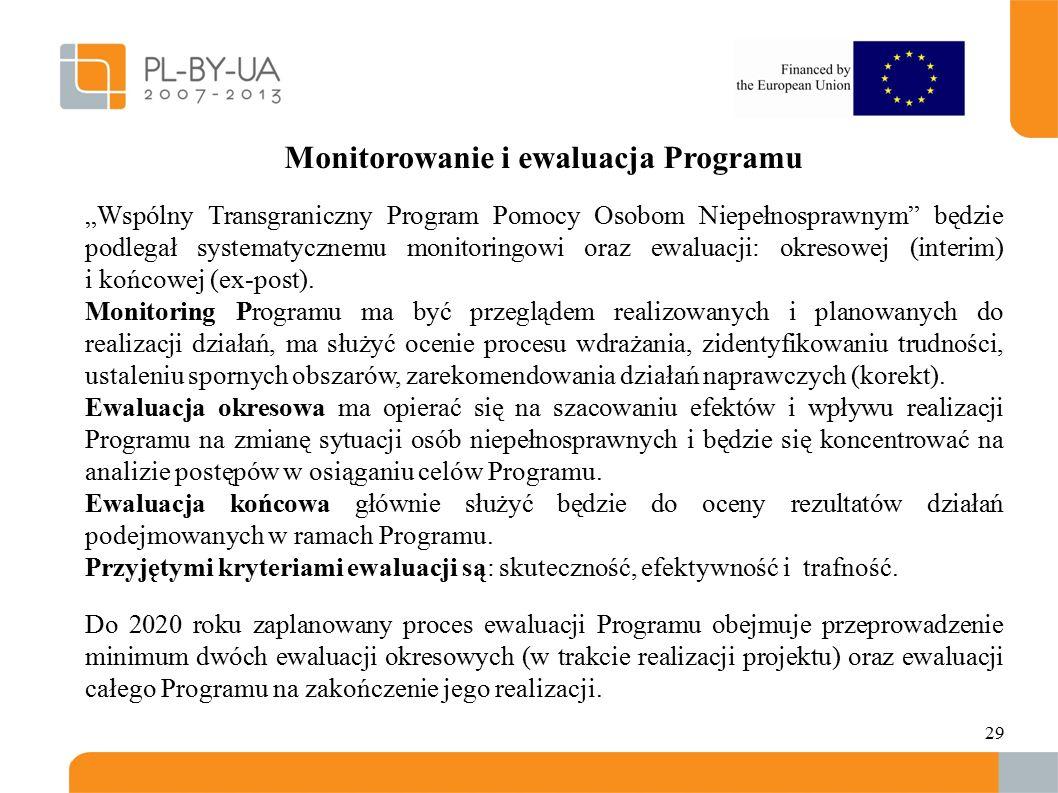 """29 Monitorowanie i ewaluacja Programu """"Wspólny Transgraniczny Program Pomocy Osobom Niepełnosprawnym będzie podlegał systematycznemu monitoringowi oraz ewaluacji: okresowej (interim) i końcowej (ex-post)."""