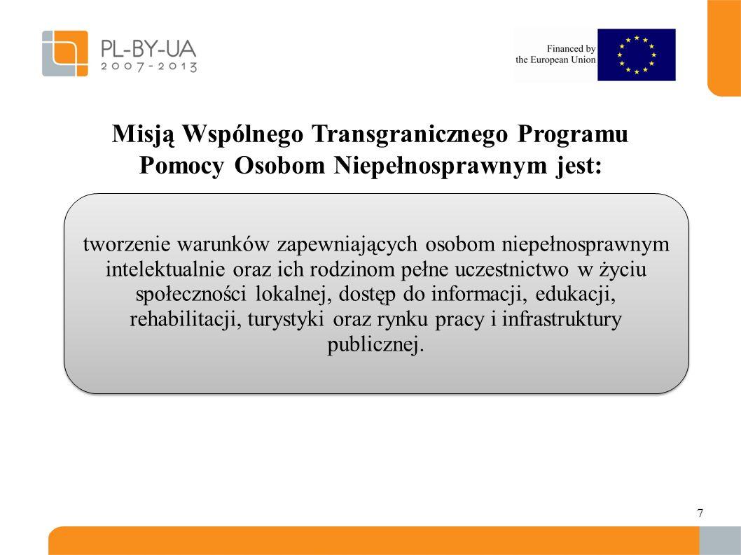 7. Misją Wspólnego Transgranicznego Programu Pomocy Osobom Niepełnosprawnym jest: tworzenie warunków zapewniających osobom niepełnosprawnym intelektua
