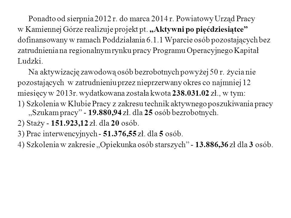Ponadto od sierpnia 2012 r.do marca 2014 r.