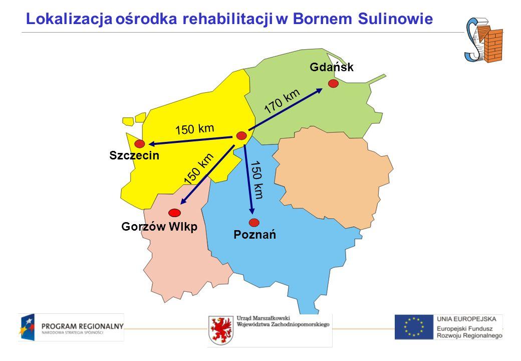 Szczecin Gdańsk Poznań 150 km 170 km 150 km Lokalizacja ośrodka rehabilitacji w Bornem Sulinowie Gorzów Wlkp 150 km