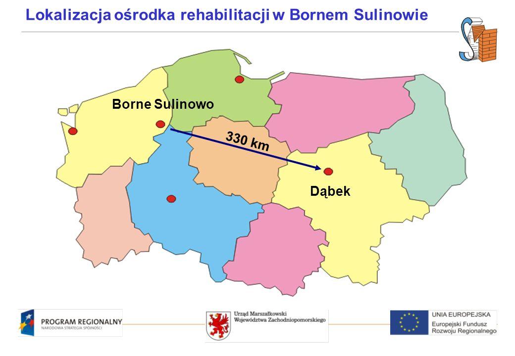 Borne Sulinowo Dąbek 330 km Lokalizacja ośrodka rehabilitacji w Bornem Sulinowie