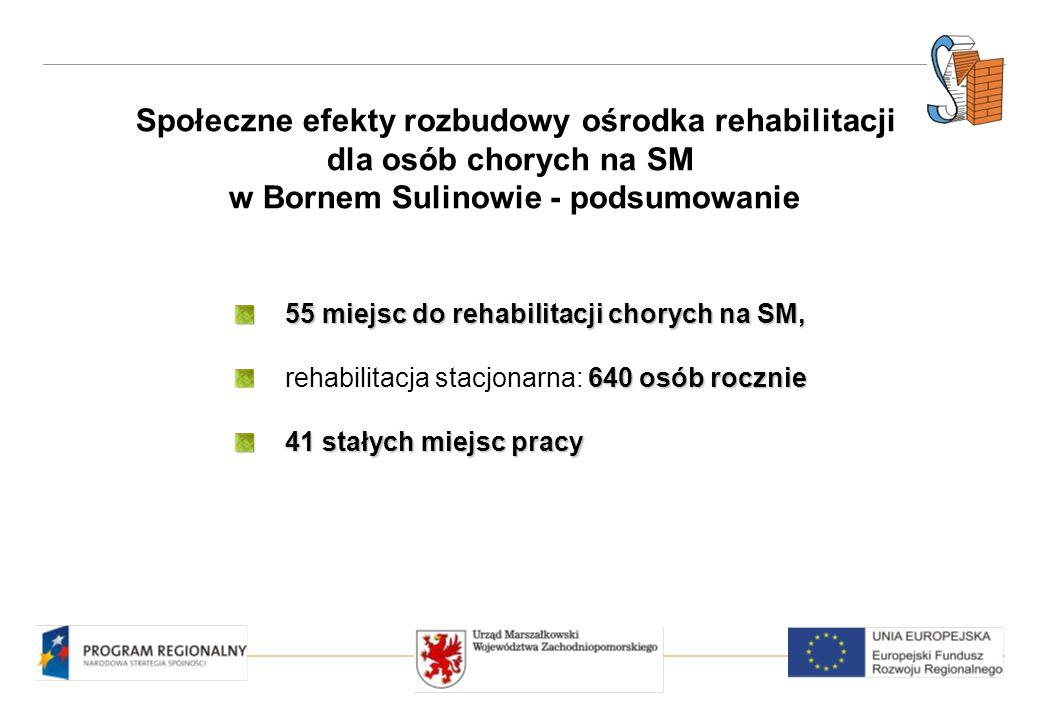 Społeczne efekty rozbudowy ośrodka rehabilitacji dla osób chorych na SM w Bornem Sulinowie - podsumowanie 55 miejsc do rehabilitacji chorych na SM, 640 osób rocznie rehabilitacja stacjonarna: 640 osób rocznie 41 stałych miejsc pracy
