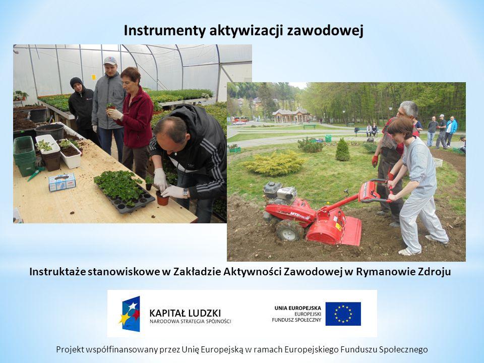 Projekt współfinansowany przez Unię Europejską w ramach Europejskiego Funduszu Społecznego Instrumenty aktywizacji zawodowej Instruktaże stanowiskowe w Zakładzie Aktywności Zawodowej w Rymanowie Zdroju