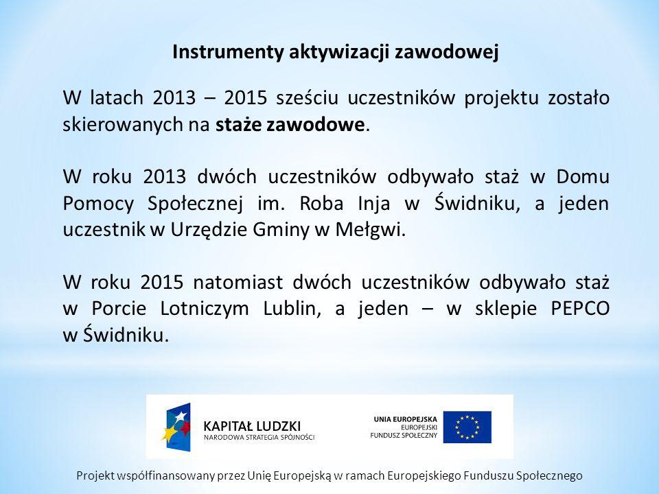 Projekt współfinansowany przez Unię Europejską w ramach Europejskiego Funduszu Społecznego Instrumenty aktywizacji zawodowej W latach 2013 – 2015 sześ